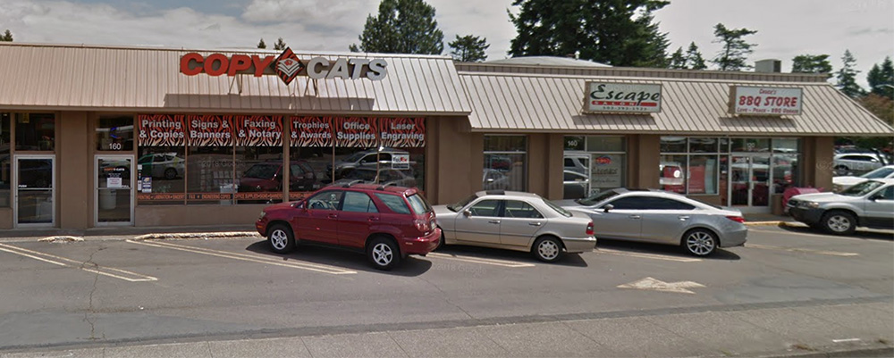 Exterior of Copy Cats NW in Keizer Oregon as viewed from River Road N